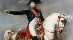 Napoleon Bonaparte. Portarit of Napoleon Bonaparte 1769-1821 at the battle. Detail of a painting by Joseph Chabord 1786-1848. Museo Napoleonico, Rome Italy